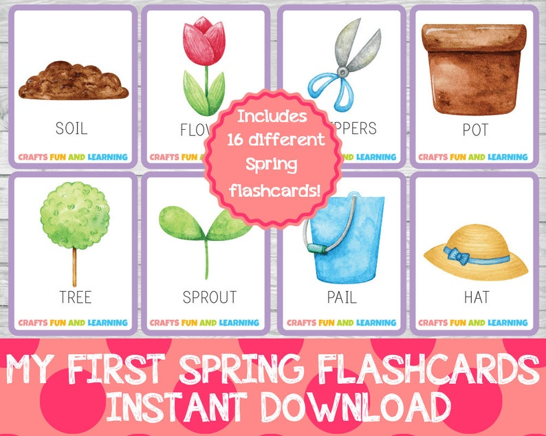 My First Spring Flashcards Early Learning Printables Spring image 0
