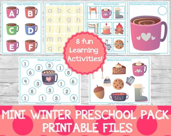 mini winter preschool pack winter preschool activities etsy