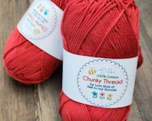 CHUNKY THREAD skein - Lori Holt - RED for Riley Blake Designs - Knitting - Crochet - Crafts - 50 grams 140 yards