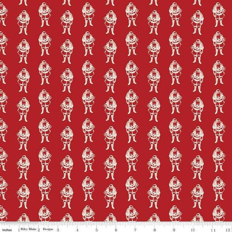 Christmas Holiday Fabric YULETIDE Red Santas Riley Blake Designs 100/% cotton quilting fabric yardage My Minds Eye