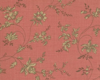 RURAL JARDIN - Rose - Faded Red Floral - Brown - French General - 100% cotton quilting Fabric - Moda Fabrics - 2010