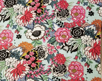 Alexander Henry GARDEN at COYOACAN large Floral in Aqua quilting fabric BTHY