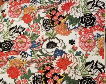 Alexander Henry GARDEN at COYOACAN large Floral in natural white quilting fabric BTHY