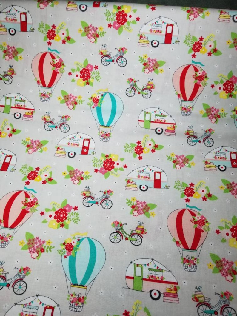 Vintage Adventure grey hot air balloons & campers by Beverly McCullough for  Riley Blake new 100% cotton quilting fabric yardage
