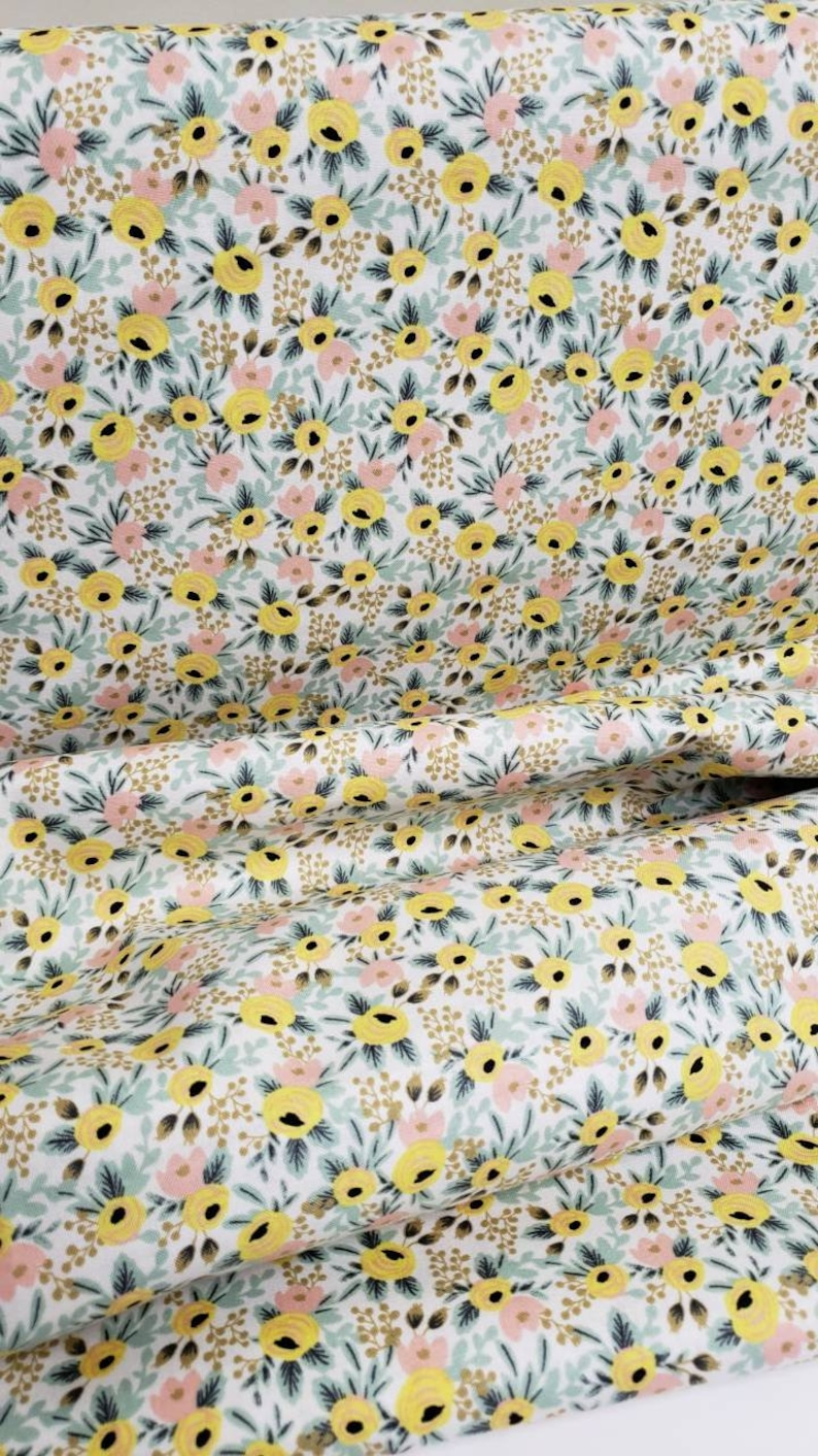 Cream Yellow Floral PRIMAVERA Cotton quilting yardage - Rifle Paper Co Rosa Floral