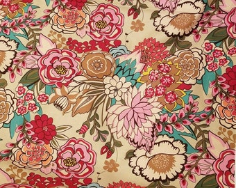 Alexander Henry GARDEN at COYOACAN large Floral in Tea quilting fabric BTHY