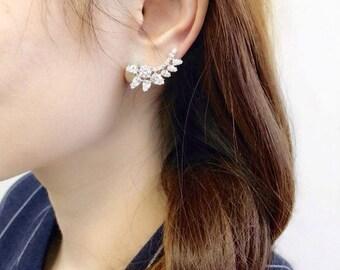 Sterling Silver Flower Leaf Ear Crawler Jacket Cuff Climber CZ Earrings; bridal ear climber; wedding; bridesmaid gifts; birthday gifts