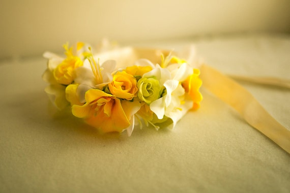 Yellow Silk Flower Crown Yellow Birthday Wreath Yellow Etsy