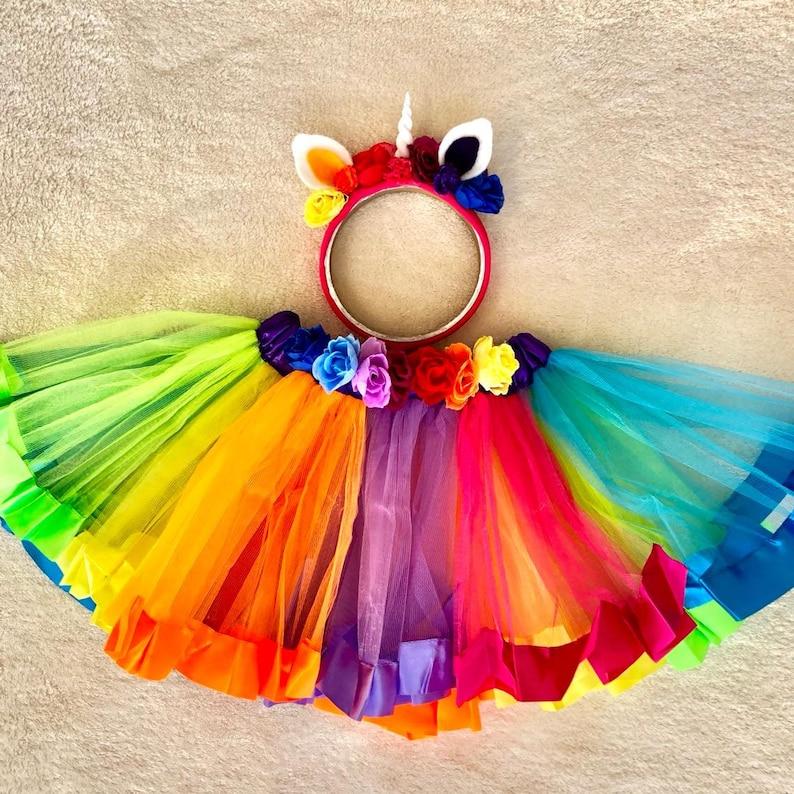 82a5418cd0f96 Rainbow unicorn girl set of headband and skirt ,baby unicorn crown and tutu  skirt , first birthday unicorn , adult Halloween unicorn costume