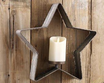 Galvanized Star Candle Holder