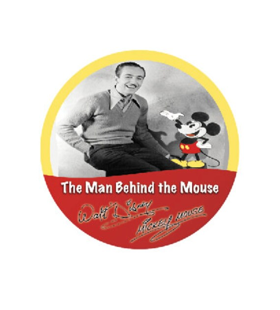 The Man Behind The Mouse Button Walt Disney Button Mickey Etsy