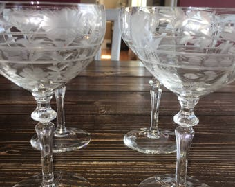 Mid Century 1950's crystal cut champagne glasses (Set of 4)