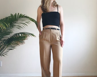 Pleated high waist trousers | 90s linen high waisted pants | High rise slacks