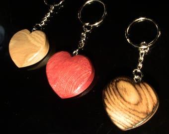 Set of 3 wooden heart Keyring