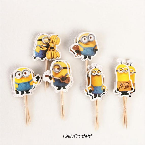 24pcs Cartoon Minions Cupcake Toppers Pick Cake Topper Cartoon Cake Topper Cartoon Cupcake Cupcake Pick Cake Wrapper Cake Decoration