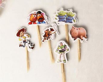 24 pcs Toy Story Cartoon Cupcake Toppers /cake topper/cartoon cake topper/cartoon cupcake/cupcake pick/kids party/cartoon cake topper