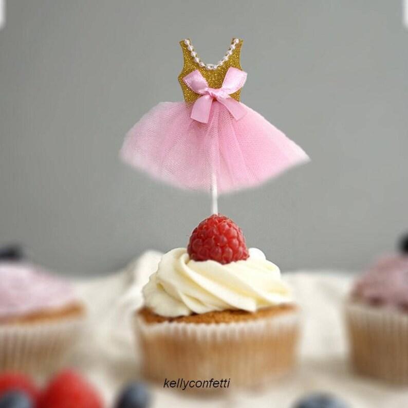 5pcs Pink Princess Dress Cupcake Topper Party Supplies Kids Etsy