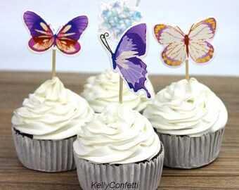 48pcs Nice Butterfly Flower Cupcake Toppers Party Supplies Topper/cake topper/cartoon cake topper/dessert toppers/kids party/wedding topper