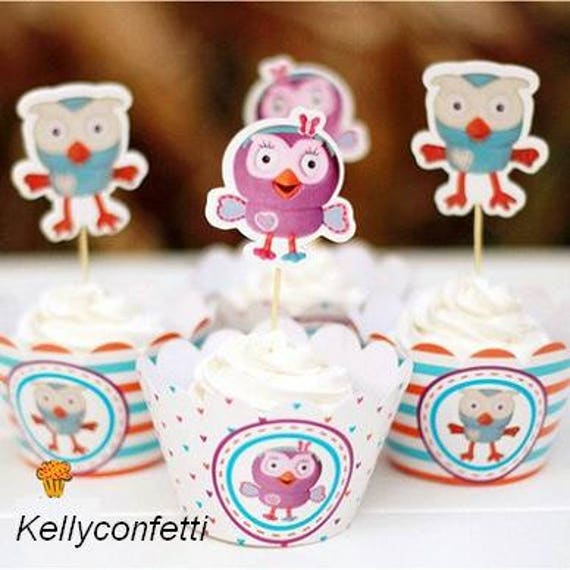 New Cartoon Giggle And Hoot Owl Party Cake Decoration 12 Pcs Etsy