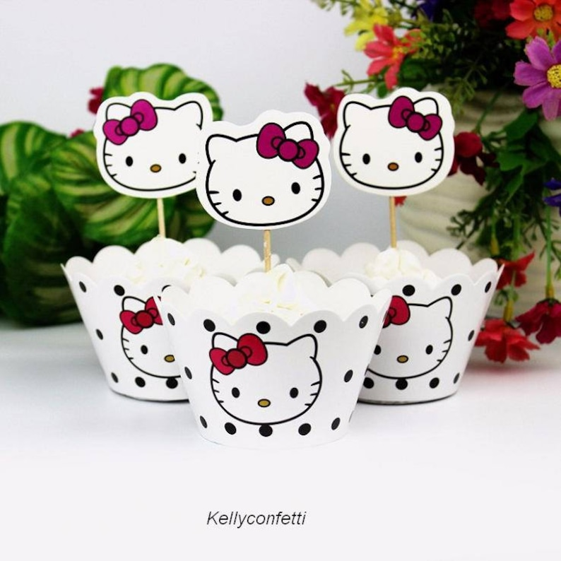 12 Pcs Toppers 12 Pcs Wrappers Hello Kitty Cute Cake Etsy