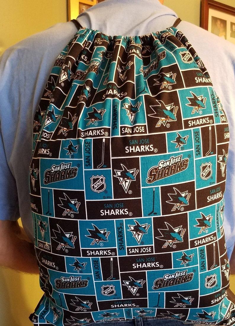 fb2901500e66 San Jose Sharks Hockey Drawsting Backpack with nylon lining