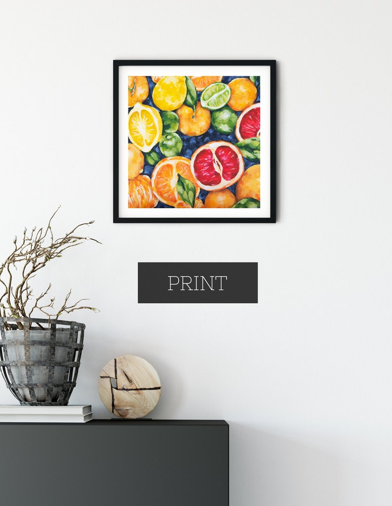 Colorful Fruit Wall Art Print of Original Acrylic Painting / image 0