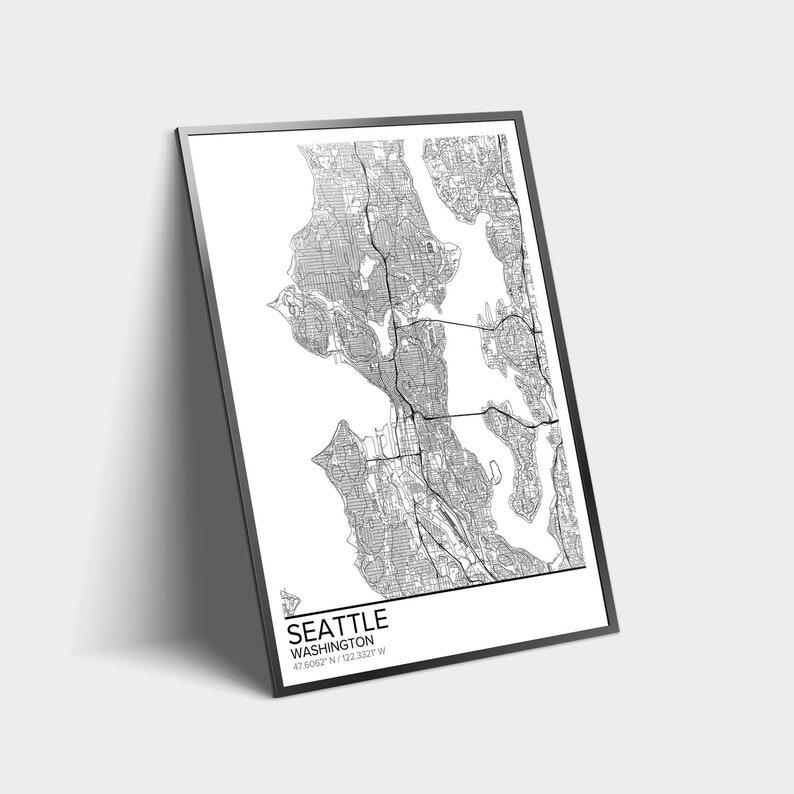 Seattle Map Poster Print Wall Art Washington Gift Printable Etsy