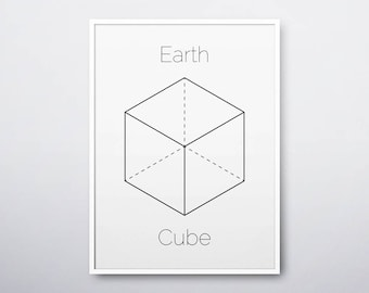 Cube Printable, Cube Print, Sacred Geometry Art, Geometric Print, Platonic Solids, Cube, Modern Home Decor, Cube Art Print, INSTANT DOWNLOAD