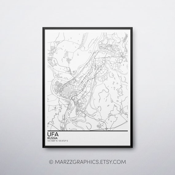 Ufa Map Poster Print Wall Art Russia Gift Printable Download Etsy