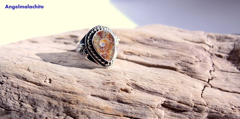 gift for her Ammonite ring healing prosperity stone jewelry Woman ring shell woman accessory ammonite,silver fossil