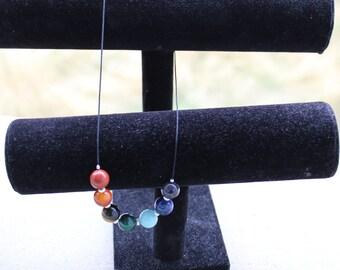 Necklace 7 energizing chakras - necklace yoga meditation energy spiritual balance - Rainbow necklace