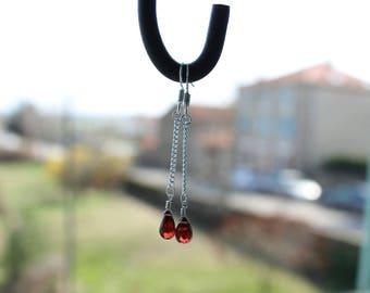 energizing Garnet stamped Silver 925 earrings