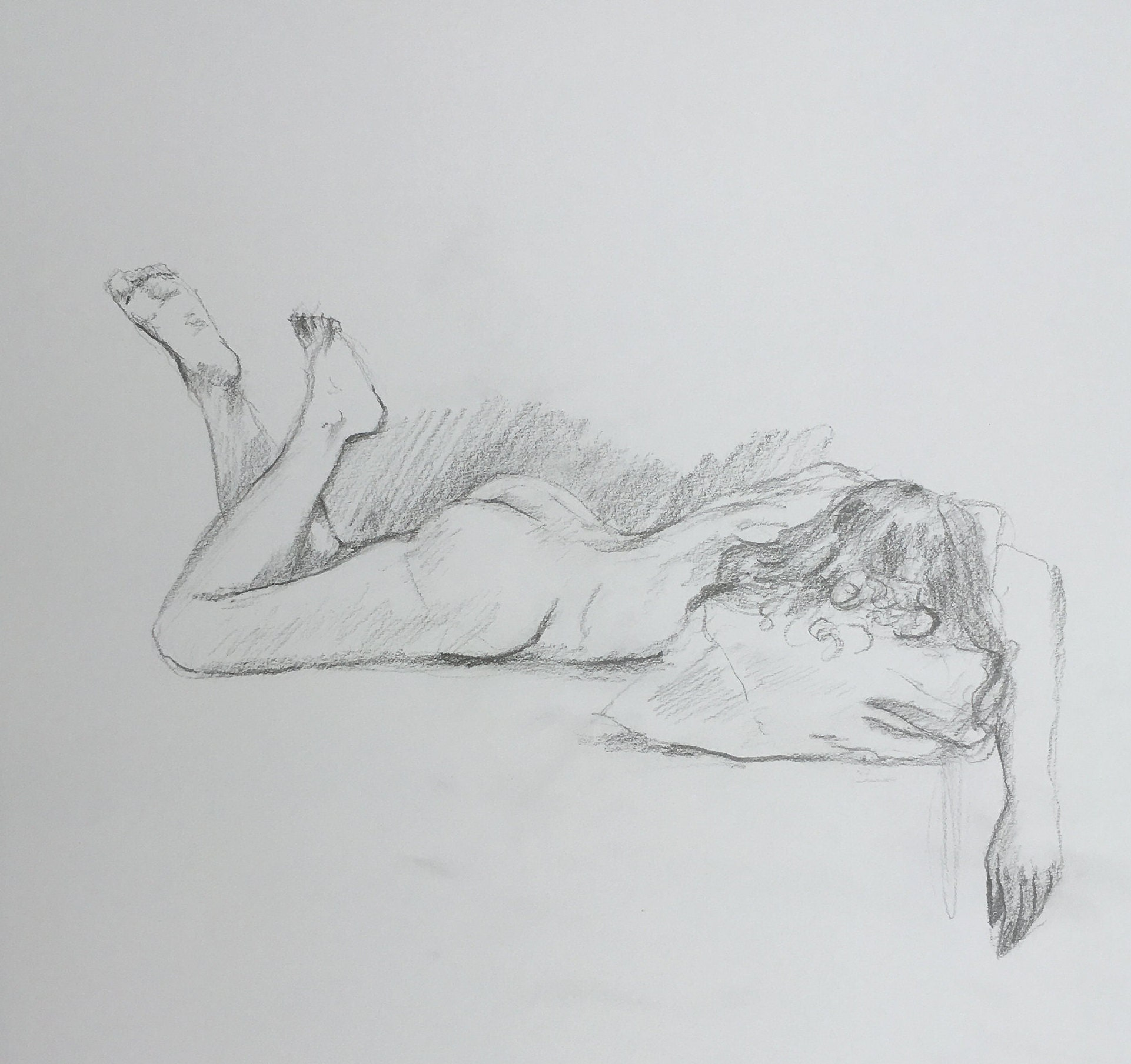 Original handmade drawing nude female woman nude sketch sketch gift man woman graphite pencil
