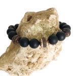 Onyx & Tibetan Agate Stackable Beaded Bracelet, Gemstone Bracelet, Protection, Healing Stones, Positive Energy, Boho Bracelet, Gift for Him