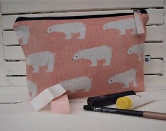 Linen pouch, Linen make up bag, Linen travel bag.