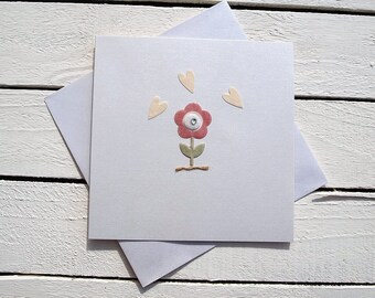 Heart and flower greeting card