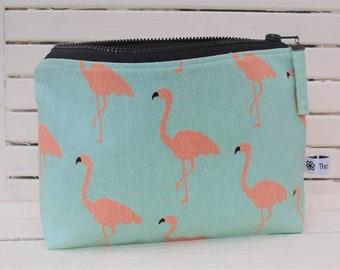 Flamingo print linen pouch, Linen make up bag, Linen cosmetic bag, Linen travel bag