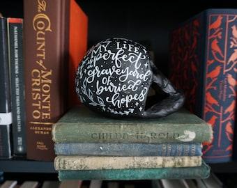 Anne Literary Skull - Handlettered, Handpainted Papier Mache Skull with Matte Finish