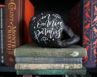 In Omnia Paratus Skull - Handlettered, Handpainted Papier Mache Skull with Matte Finish