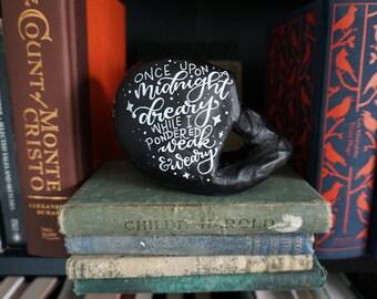 Edgar Literary Skull - Handlettered, Handpainted Papier Mache Skull with Matte Finish