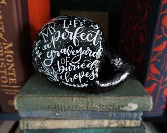 Green Gables Literary Skull - Handlettered, Handpainted Papier Mache Skull with Glossy Finish