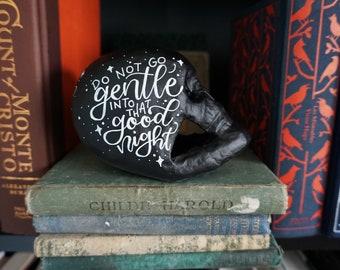 Dylan Literary Skull - Handlettered, Handpainted Papier Mache Skull with Matte Finish