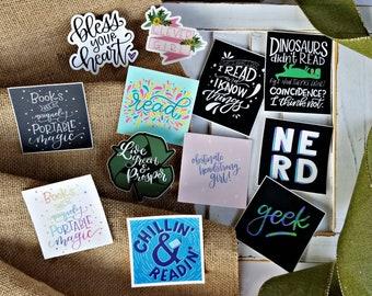 Nerdy, Bookish Stickers - 10 Designs - Teacher Gift, Librarian Gift, Nerd Gift