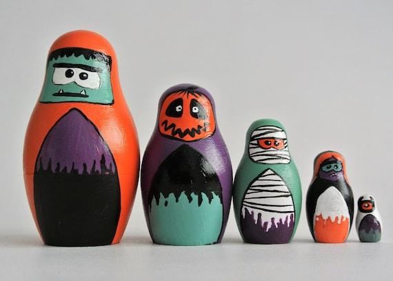 Dipinto a mano divertimento non so Spooky Halloween nidinido bambole (set di 5)/ bambola russa / babushka / matryoshka