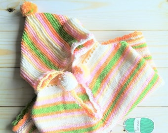 Handknit poncho for baby boy or baby girl, size 0-9 months-baby clothing-baby poncho-birth gift-baby coat