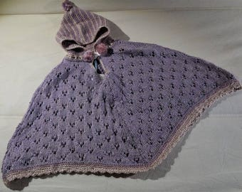 Handknit poncho for baby boy or baby girl, size 0-9 months-baby clothing-baby poncho-birth gift-
