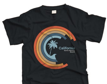 Cali Circle Wave tee-Santa Monica Beach