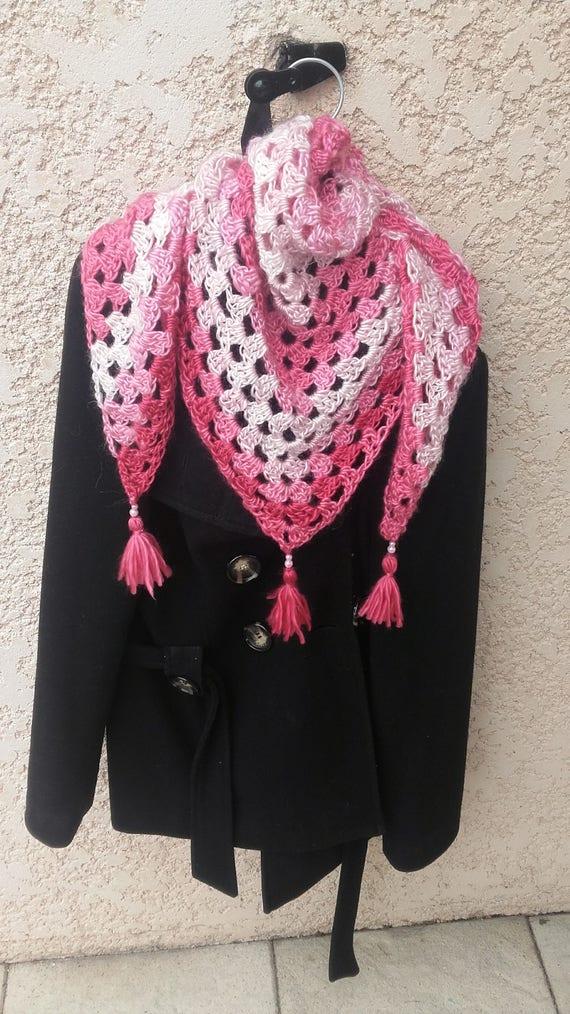 Chèche Chale Rose Au Crochet Châle Crochet Granny