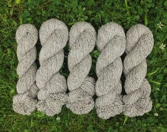 Variegated Brown and White Lambswool / Angora Rabbit Hair Recycled Yarn - 1,147 yards (4-ply)