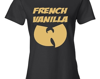 cd13504f French Vanilla Wu-Tang Women's T-shirt in Black and Gold